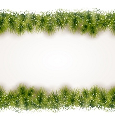 Seamless border of fir twigs with snow vector image vector image
