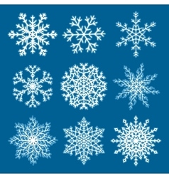 Set of white paper snowflakes vector
