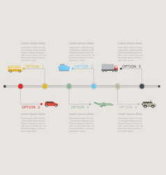 timeline infographic with transportation icons vector image vector image