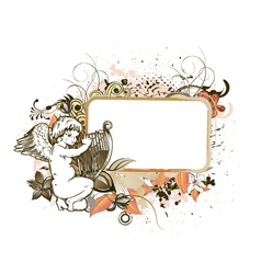 angel with floral frame vector image