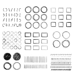 Big set of hand-drawn doodle design elements vector image
