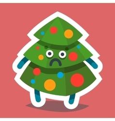 Emoticon icon happy new year fir tree vector