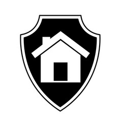 Shield insurance with house isolated icon vector