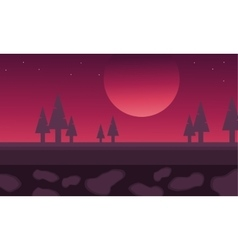 Silhouette of spruce and moon scenery vector
