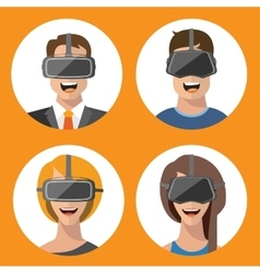Virtual reality glasses man and woman flat icons vector image