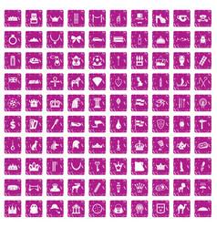 100 crown icons set grunge pink vector