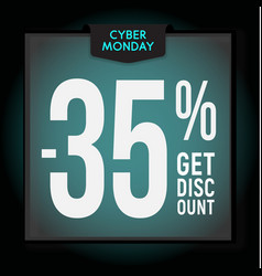 35 percent off holiday discount cyber monday vector