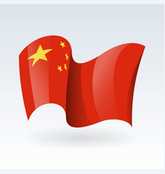 3d waving flag china isolated on white vector
