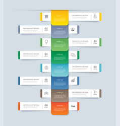 8 data step infographics timeline tab paper index vector image