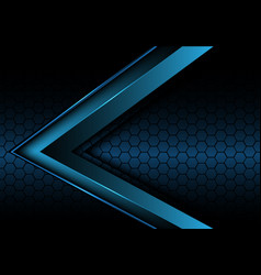 abstract blue metallic arrow on hexagon mesh vector image