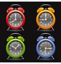Alarm clock icon set in red vector