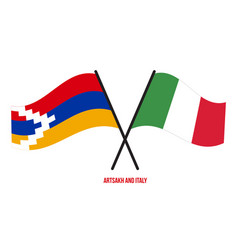 Artsakh and italy flags crossed and waving flat vector