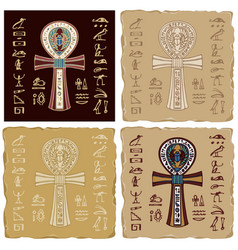 banners with egyptian ankh cross and vector image