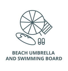 beach umbrella and swimming board line icon vector image