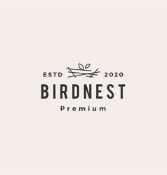 bird nest hipster vintage logo icon vector image