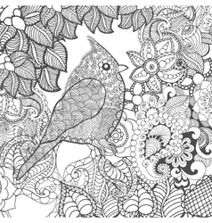 Birdy in fantasy flowers vector image