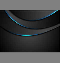 black abstract wavy background with blue neon vector image