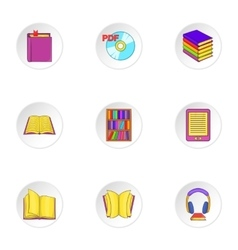 Book icons set cartoon style vector