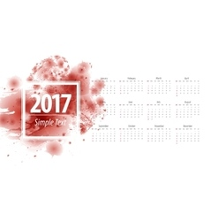 Calendar 2017 week starts from sunday vine vector