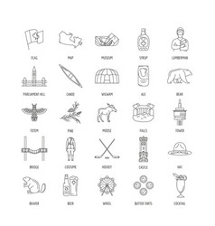 canada icons set line style vector image