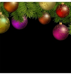 Christmas greeting card with colorful balls vector image