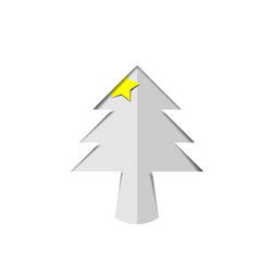 christmas tree white paper cutout with star vector image