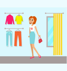 Clothing store and woman vector