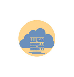 Cloud storage computing data flow glyph icon vector