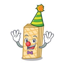 Clown waffle mascot cartoon style vector