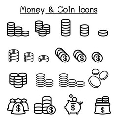 Coin money icon set in thin line style vector