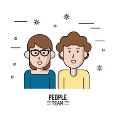 Colorful poster of people team with half body vector