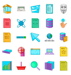 Computer technology icons set cartoon style vector