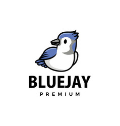 Cute blue jay cartoon logo icon vector