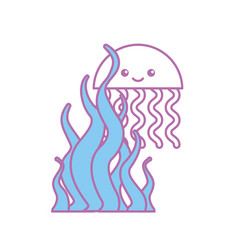 Cute jellyfish with seaweed sealife icon vector