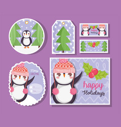 cute penguin happy merry christmas tags vector image