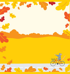 Decorated with autumn oak leaves vector