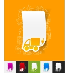 Eco car paper sticker with hand drawn elements vector