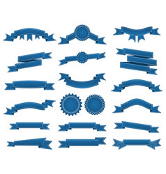 Embroidered blue ribbons and stumps pack isolated vector