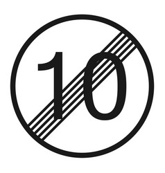 End maximum speed limit 10 sign line icon vector