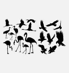 flamingo and eagle bird silhouettes vector image