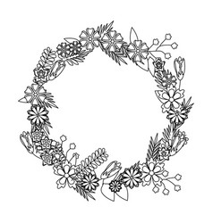 Flower wreath floral decoration circle beautiful vector
