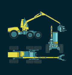 Forest harvester machine drawings vector