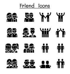 Friendship friend icon set vector