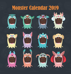 funny colorful monster calendar for 2019 vector image