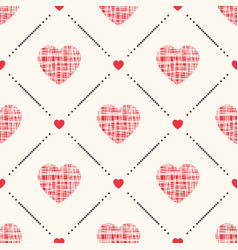 geometric seamless pattern with hearts vector image
