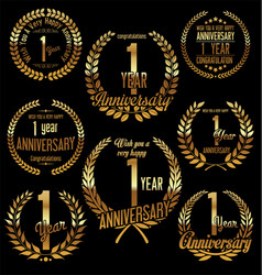 golden laurel wreath anniversary collection 1 vector image