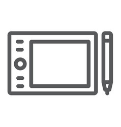 graphic tablet line icon electronic and digital vector image