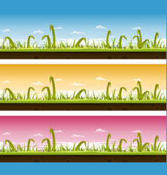 grass and lawn landscape set vector image