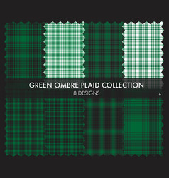 Green ombre plaid textured seamless pattern vector