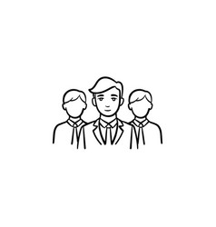 group of people hand drawn sketch icon vector image